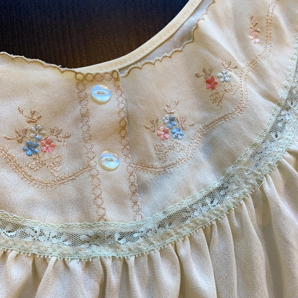 Vintage floral and blue lace embroidered nightgown